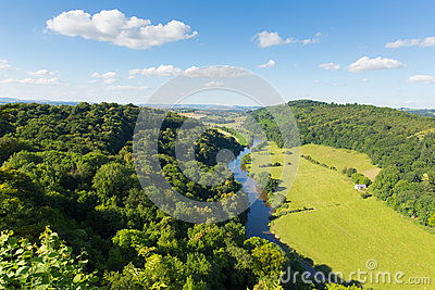 Wye Valley and River Wye between the counties of Herefordshire and Gloucestershire England UK from Yat Rock