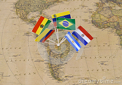 South America continent with flag pins of sovereign states on map