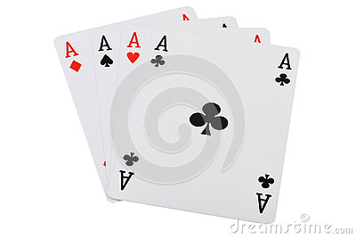 Playing cards four aces