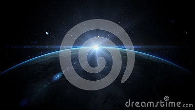 Sunrise over earth as seen from space. With stars background. 3d rendering