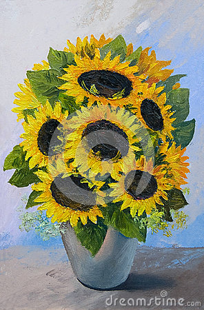 Oil painting - bouquet of sunflowers in a vase on an abstract background