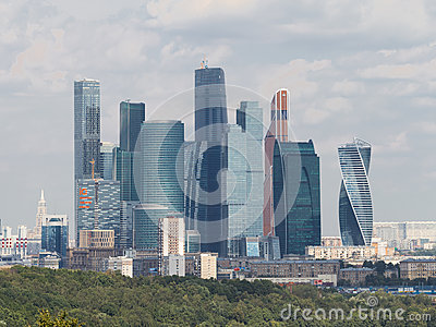 View from the observation deck on the Sparrow Hills Moscow City,