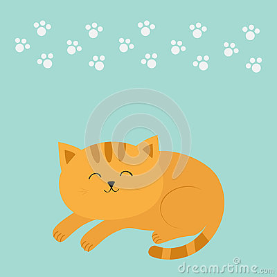 Cute lying sleeping orange cat with moustache whisker. Funny cartoon character. White animal paw print. Blue background. .