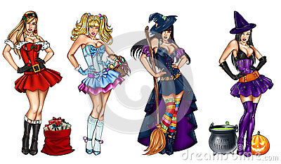 Illustration of pin ups dressed up for festivity - Christmas, Epiphany, Easter, Halloween