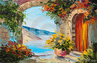 Oil painting - house near the sea, colorful flowers, summer