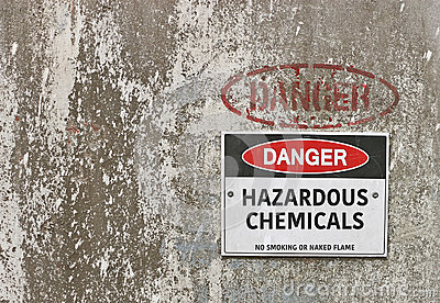 Red, black and white Danger, Hazardous Chemicals warning sign