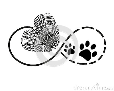 Eternity with finger print heart and dog paw prints symbol tattoo