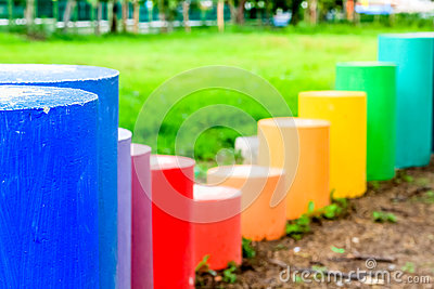 Colorful cylinder shape on the kid playground