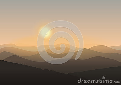 Cartoon mountain landscape in sunrise. Background Outdoor Recreation concept illustration.