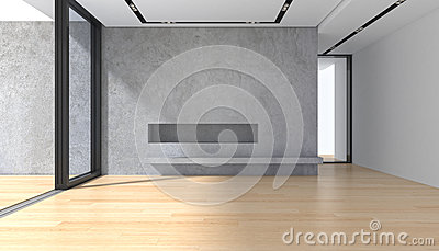 Empty room with concrete wall parquet floor and panoramic window