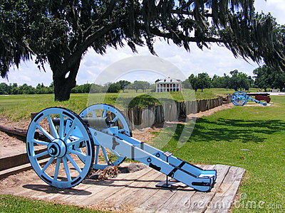 Battle of New Orleans Battlefield with Cannons and Plantation Home
