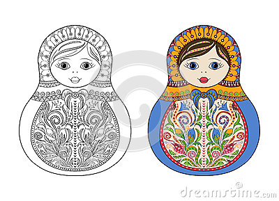 Vector coloring book for adult and kids - russian matrioshka doll. Hand drawn zentangle with floral and ethnic ornaments