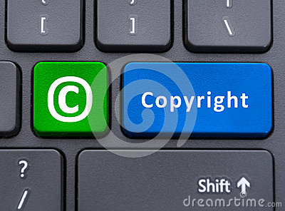 Copyright text and symbol button on keyboard concept