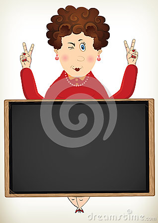 Cheerful fat lady poses peace sign behind blackboard