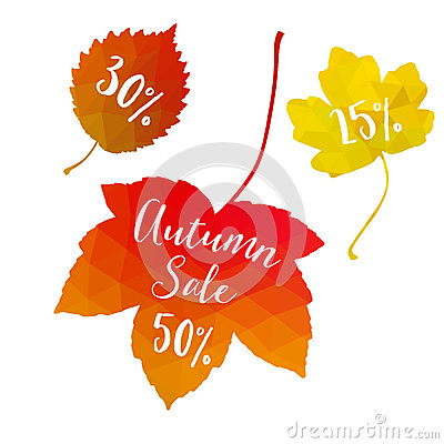 Autumn fall sale, polygonal maple leaves, discount tags, elements. Seasonal promotion concept. Modern design.