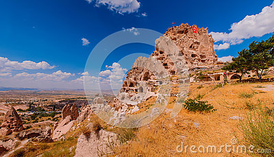 View on a valley in Cappadocia area and Uchisar castle