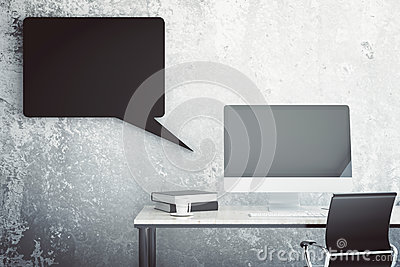 Abstract workplace with speech bubble