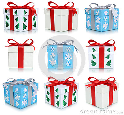 Christmas gift boxes collection set of gifts isolated