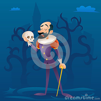 Man medieval suit tragic actor theater stage retro cartoon character design vector illustration