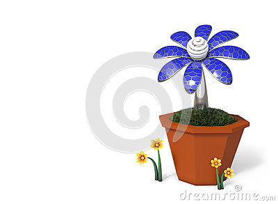 3D rendering Solar cells electric flower in a pot.