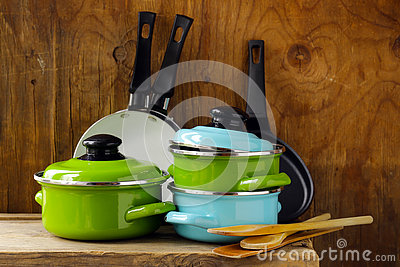 Set of metal pots cookware