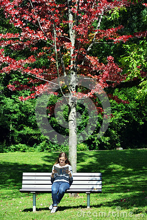 Woman Sitting on Park Bench Reading a Book