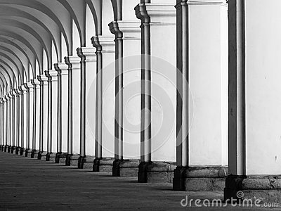 Rof of columns in colonnade