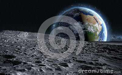 Moon surface. The space view of the planet earth. 3d rendering