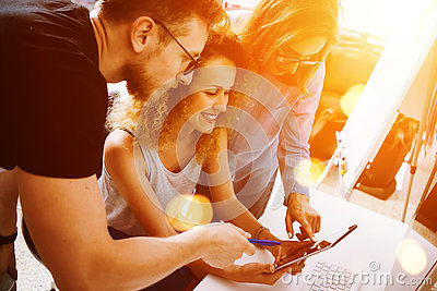 Coworkers Making Great Startup Decisions. Young Business Marketing Team Discussion Corporate Work Concept Modern Office