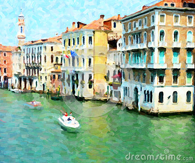 The Grand Canal, Venice; Oil Painting Style