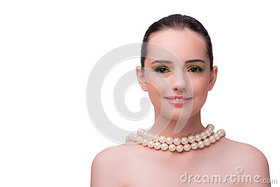 The woman with pearl necklace isolated on white