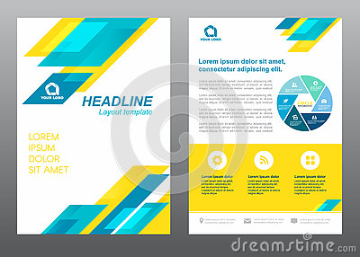 Layout flyer template size A4 cover page blue and yellow stripe Vector design