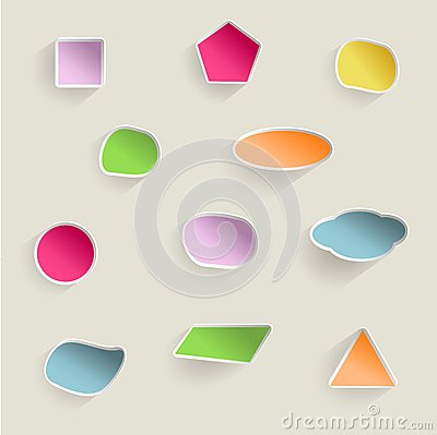 Different colored and shaped text bubbles, beige background, flat shadow