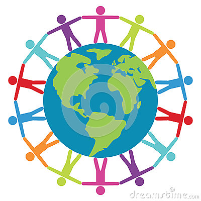 People around the world, peace or travel concept, vector