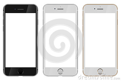 Front view of black, white and gold Apple iPhone 7 with blank white screen