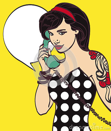 Vector colorful art of very beautiful subculture punk, hipster woman with phone, pin up, pop art illustration in vector