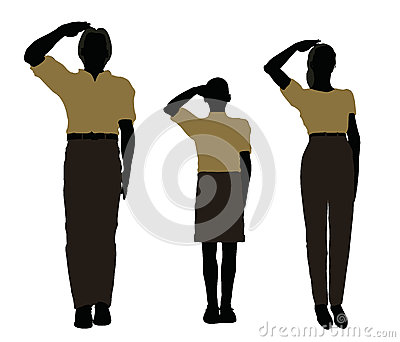 man, woman and a child silhouette in Military Salute pose