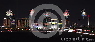 A View of Las Vegas Strip Fireworks Looking North