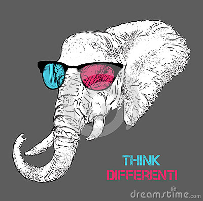 Portrait of the elephant in the colored glasses. Think different. Vector illustration.