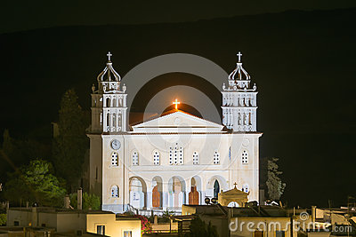 Local church of Leukes village at Paros island in Greece.