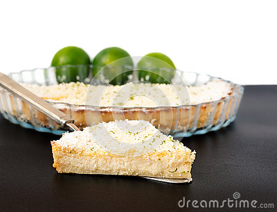 Lemon Lime Impossible Pie Slice on a Silver Pie Server