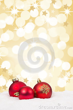 Red Christmas balls background stars gold golden decoration card