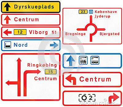 Collection of Road Signs Used in Denmark