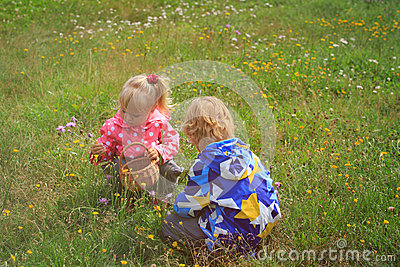 Little boy and girl collecting flowers in green nature