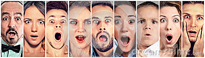 stock image of surprised shocked people. human emotions reaction