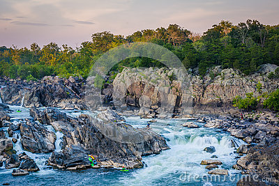 View of rapids in the Potomac River at sunset, at Great Falls Pa