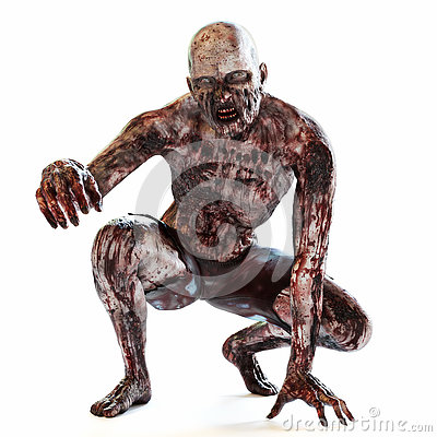 Zombie bloodthirsty undead posing on a white isolated background.