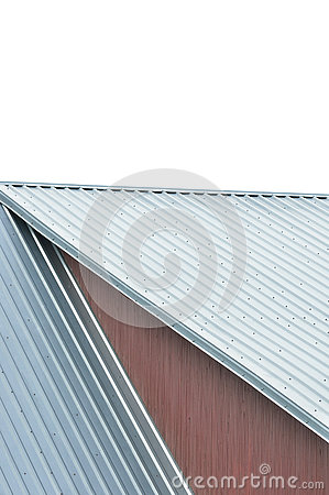 Industrial building roof sheets, grey steel rooftop pattern, isolated
