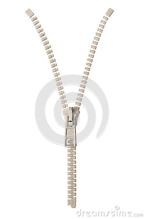 Open creamy white ivory zipper pull concept unzip metaphor, isolated macro closeup detail, large detailed partially opened