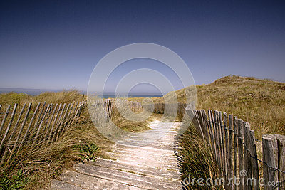 Beach with Path and Fence in Brittany
